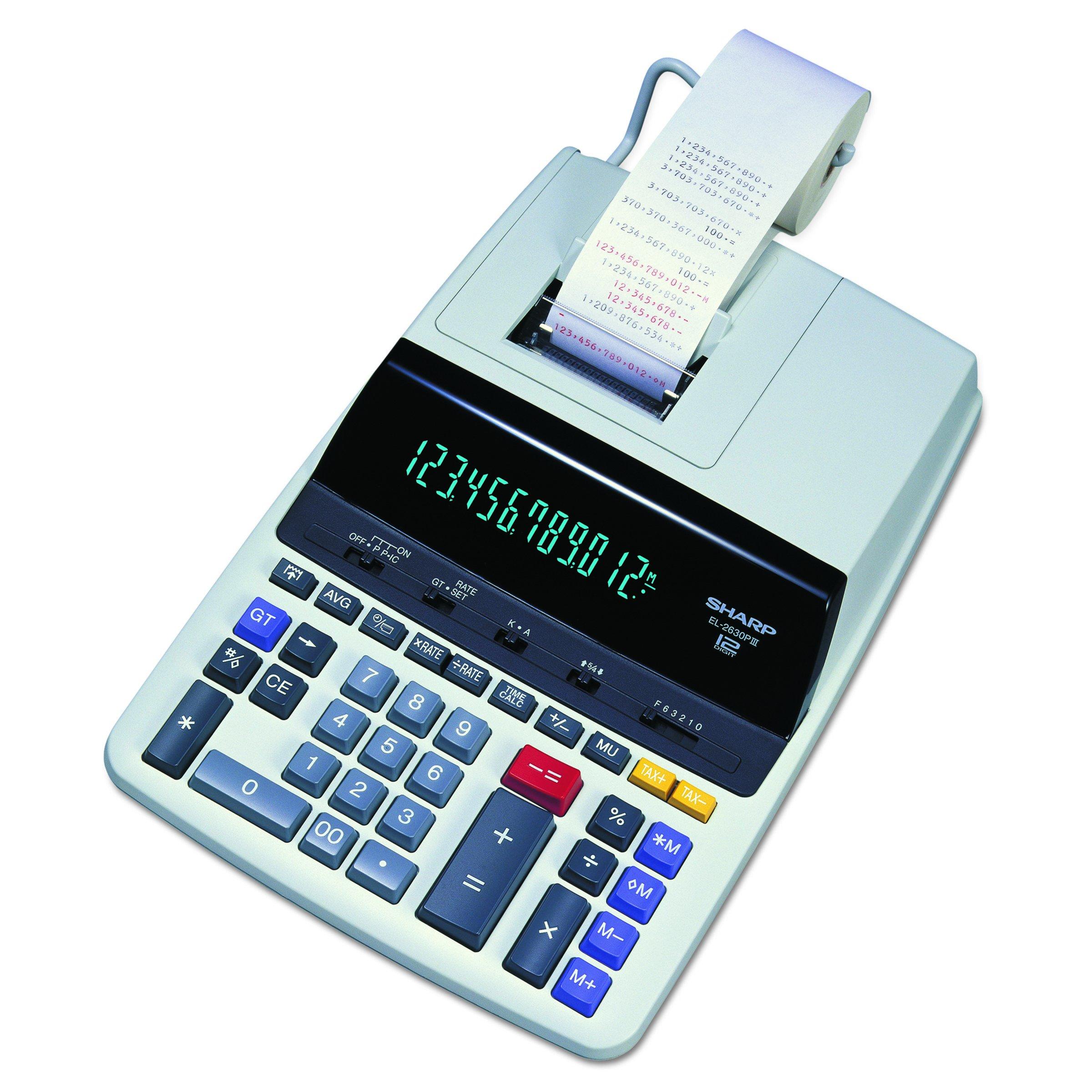 "Sharp EL-2630PIII Two-Color Printing Calculator 4.8 Lines/Sec 4"" Black/Red"