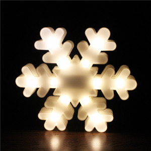 beauty winter snowflake shape night light battery operated led plastic night light for gifts