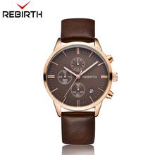 507a3bddc52b Relojes hombre Rebirth marca hombres reloj deportivo de cuero reloj  calendario de la moda impermeable 6