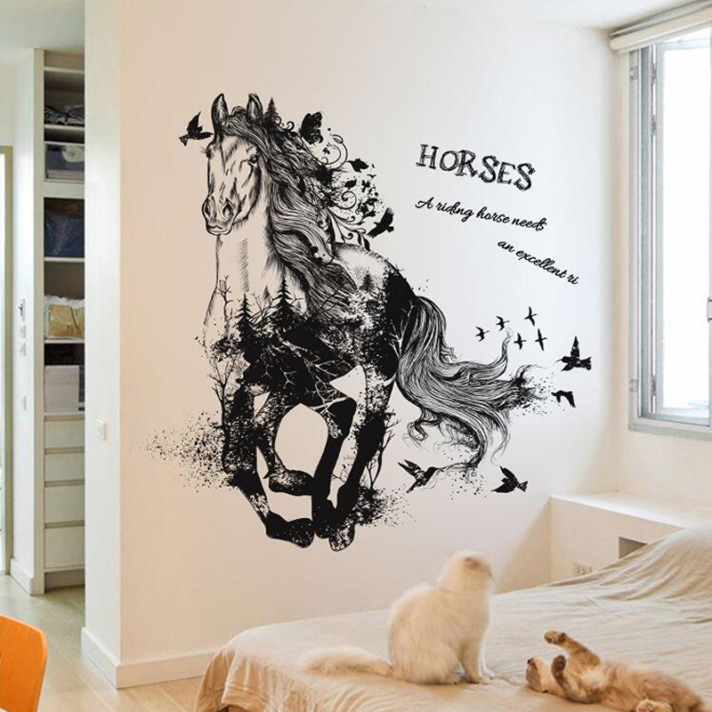 removable 3d racing horse wallpaper sticker