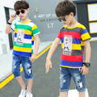Wholesale Kids Clothing Sets 4-14 Year Casual Wear Boys Outfits Printed T-Shirts Short Pants Cotton Children'S Clothing Sets