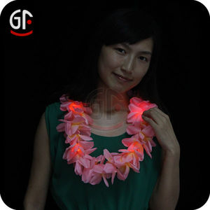 Logo Customized 48 Petals Led Light Up Christmas Hawaiian Lei
