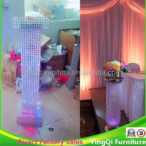 Wedding Stage Crystal Beaded Pillars with LED Lights