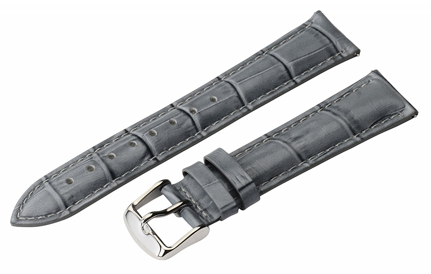 20mm 2 Piece Ss Leather Classic Croco Grain Solid Grey Interchangeable Replacement Watch Band Strap