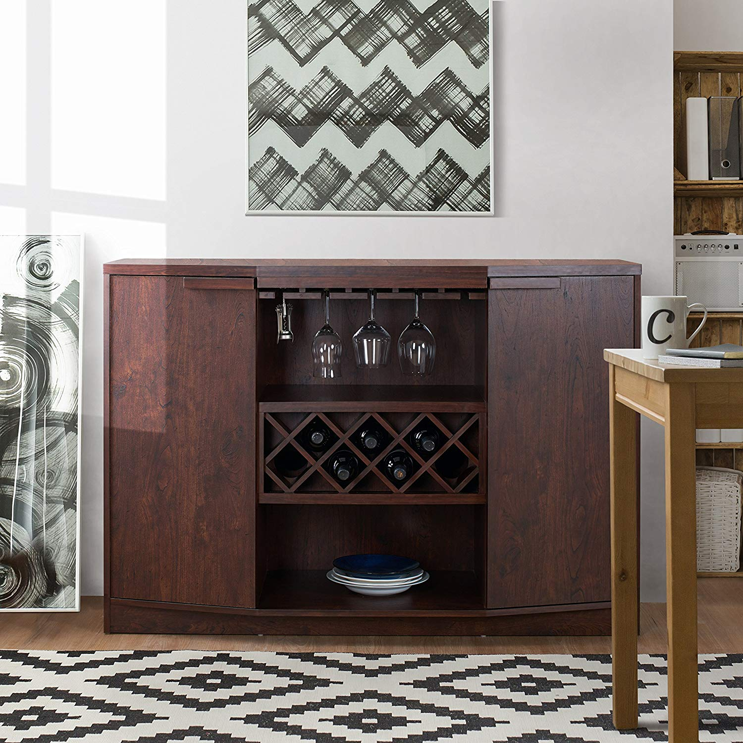Modern Multi-Storage Buffet, 2 Flat Panel Cabinets with 2 Shelves Each, 1 Open Shelf, Built-in Stemware and Wine Racks, Slightly Angled Cabinets, Sleek, Linear Lines, Vintage Walnut + Expert Guide