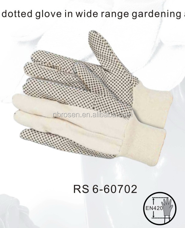 RS SAFETY cotton 10 oz drilled beige cotton gardening glove with pvc dots