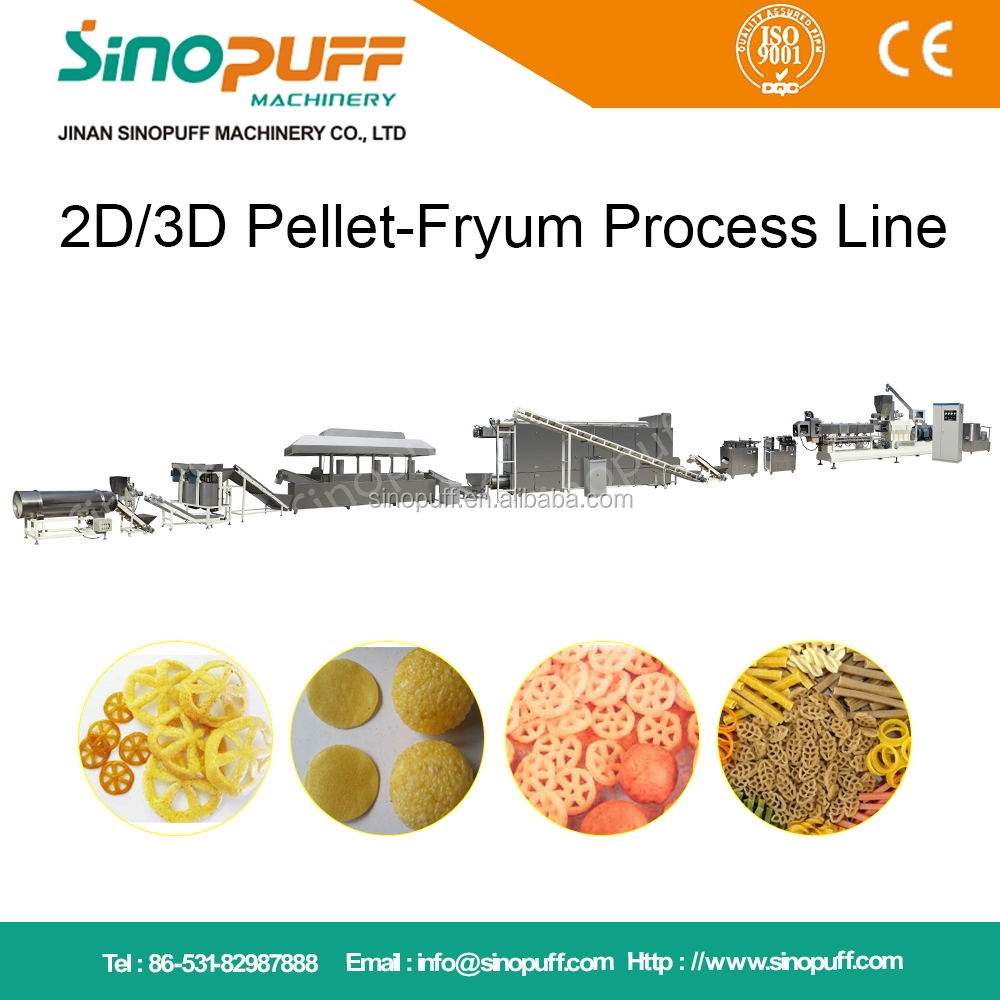 Turnkey Project Panupuri, Golgappa, onion ring, slanty, papad fryums machine for 3D & 2D Snacks Pellet