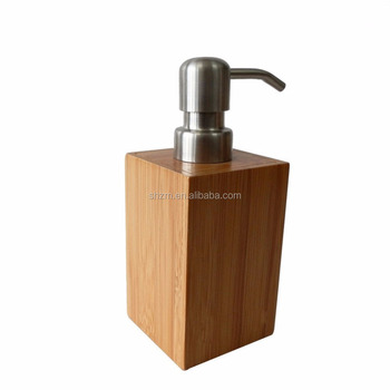 Supply Bamboo Soap Lotion Pump Caddy Rectangle Liquid Soap Dispenser