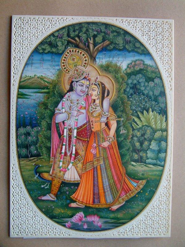 Radha Krishna Miniature Painting
