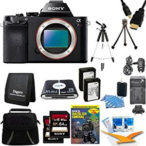 """Sony 36.3 MP a7R ILCE7R/B ILCE7RB ILCE7R Full-Frame Interchangeable Digital Lens Camera - Body Only Bundle with 2 64 GB SDHC Memory Cards, 59"""" Tripod, 2 NP-FW50 Camera Batteries, Carrying Case, Card Reader, and more."""