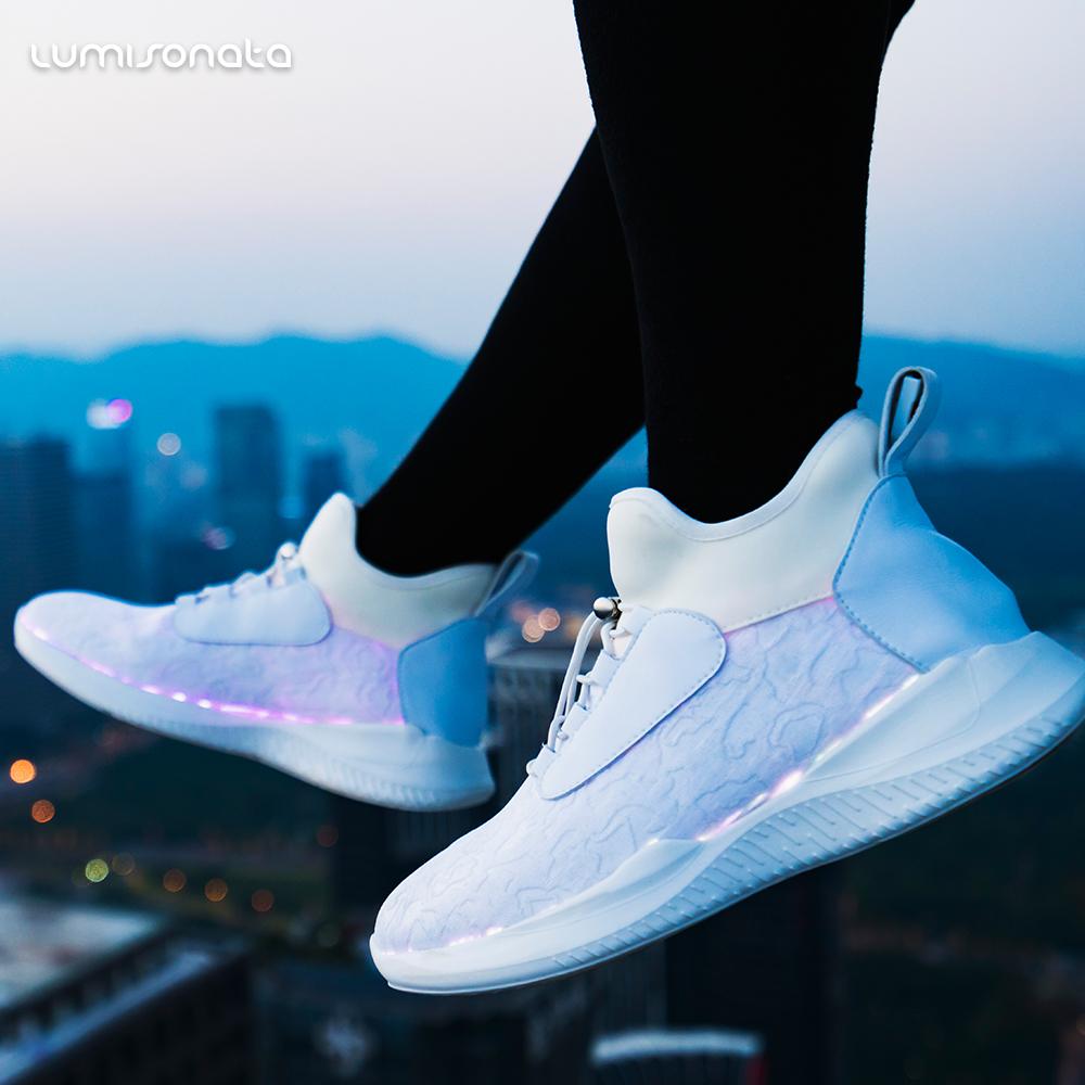 up light led operated shoes battery ladies men adult led women fiber optic luminous leisure running g0nqwCw