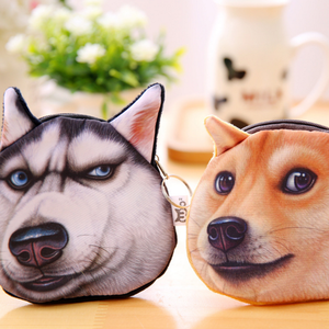 New fashion funny dogs Husky wallet plush zipper mini coin purse