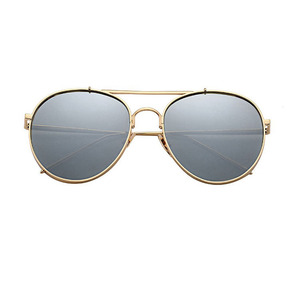 New Design Double Bridge Gold Frame Sunglasses With Black Lens