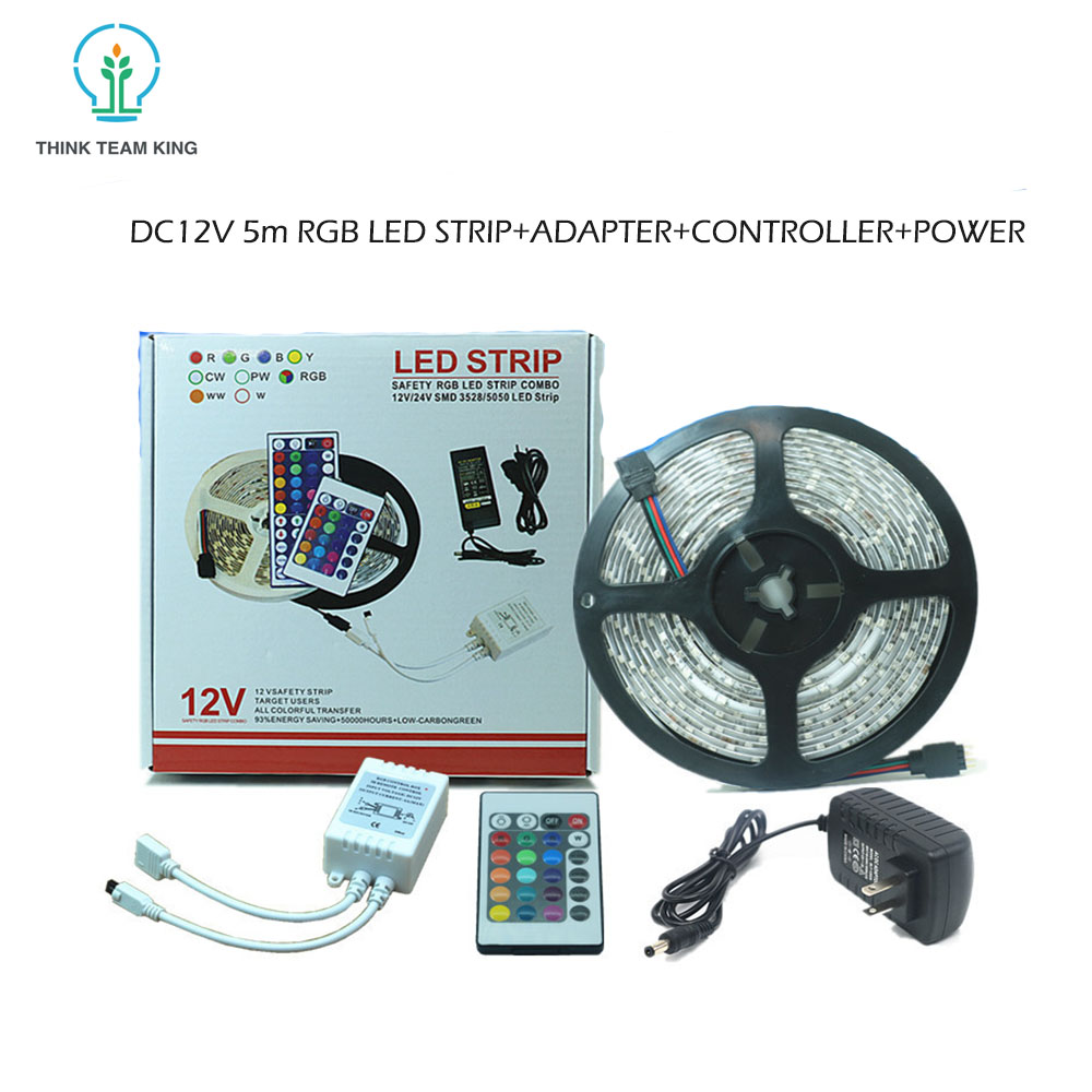 Cheap China Party Lights Decoration 3528 12 Volt Waterproof RGB Led Strip Light With 24Key Remote Controller 2A Power Supply