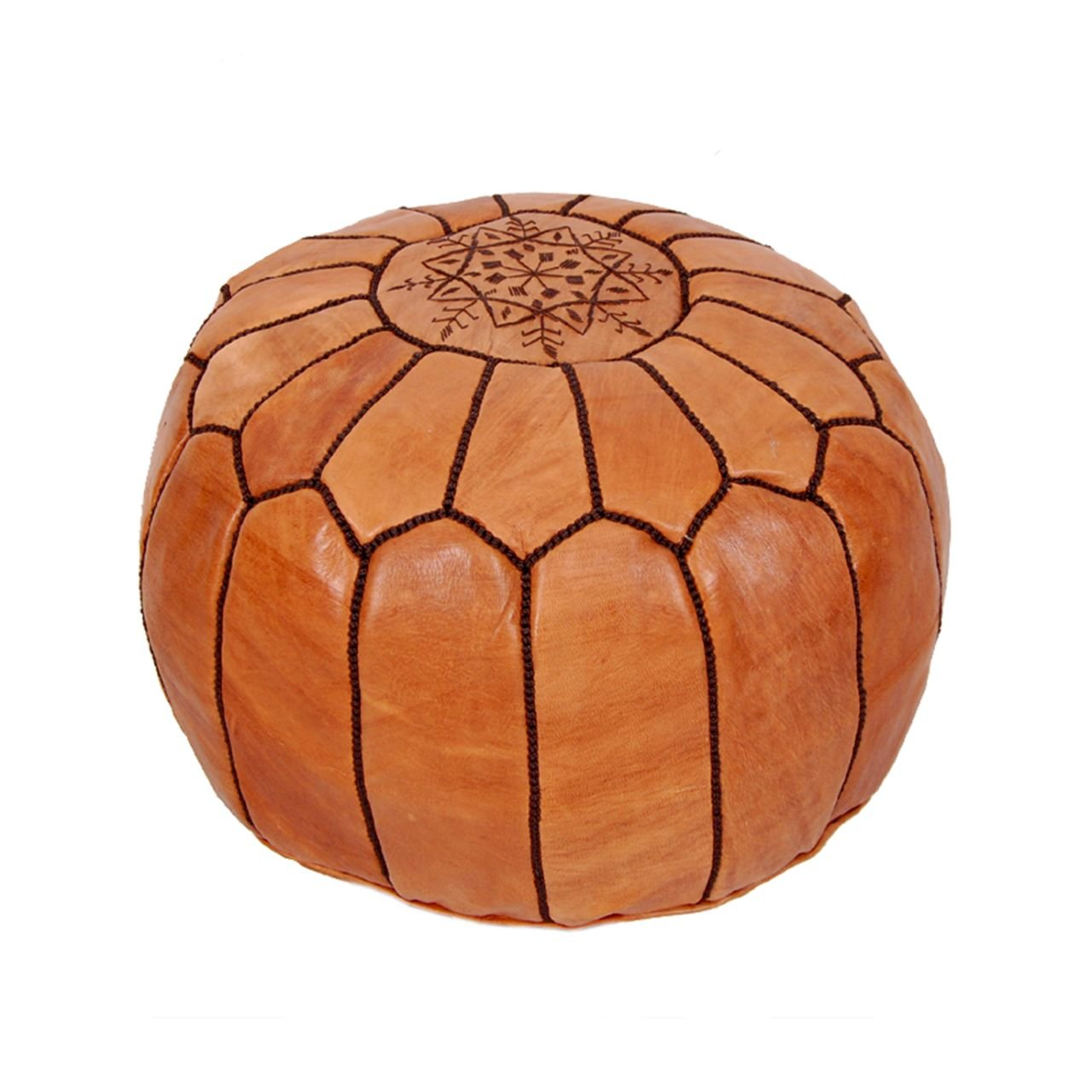 Moroccan Pouf Ottoman Footstool (Leather) Genuine Hand-Stitched Seating | Unstuffed | Living Room, Bedroom, Sitting Area | Brown | Exclusive Designs
