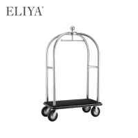 Golden Stainless Steel High Quality Airport Hotel Trolley Luggage Cart