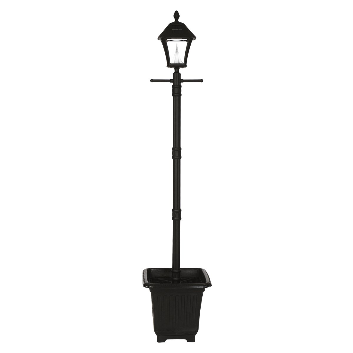 Gama Sonic Baytown Solar Outdoor Lamp Post with Planter GS-106PL - Black Finish