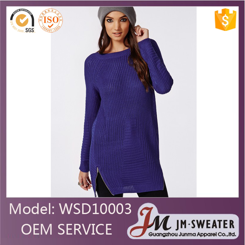 Fashionable knitting designs for young lady long crew neck sleeve navy blue color long dress wholesale