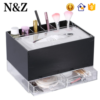 Nz M107 Black Acrylic Makeup Organizer Countertop Paper Storage Holder Drawer Tissue Box