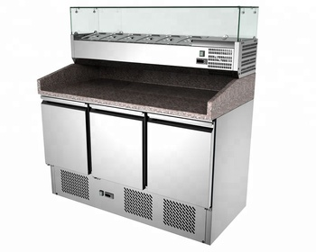 Yixue stainless steel pizza counter fridge with glass pizza top refrigerator