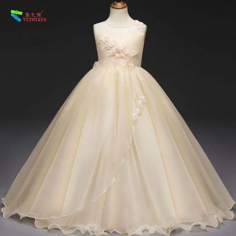YIZHIQIU Baby Tulle Wedding Embroidered Flower Girl Dress