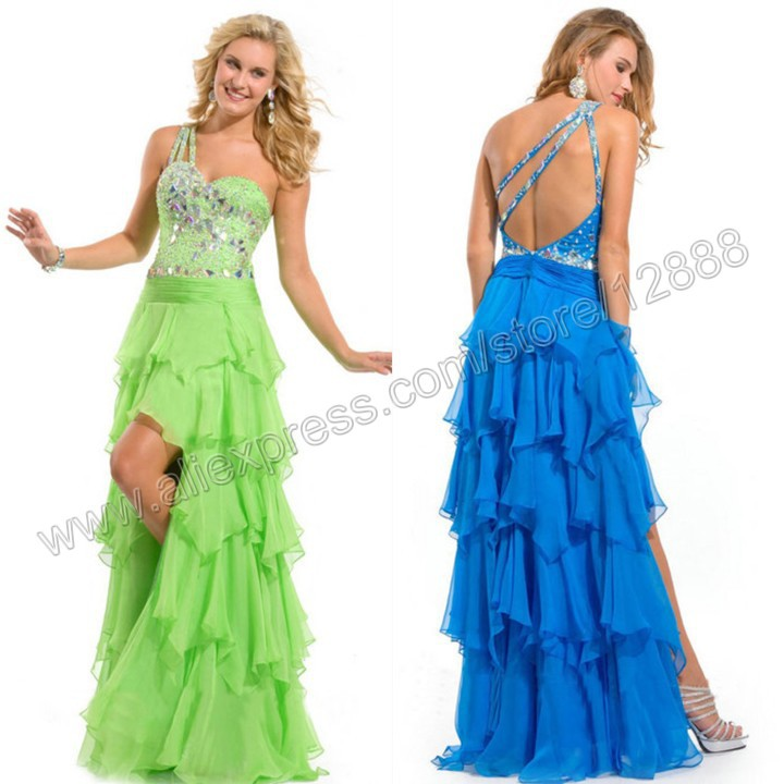 Blue and Green Chiffon One Shoulder Silver Crystals Stones Evening Prom Night Dress