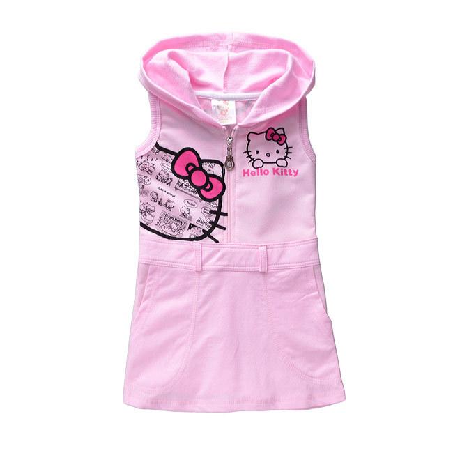 d9b1e1b6e Get Quotations · 2015 New Fashion Children Dress Girl Summer Baby Kids  Hello Kitty KT Cat Printed Cotton Vest