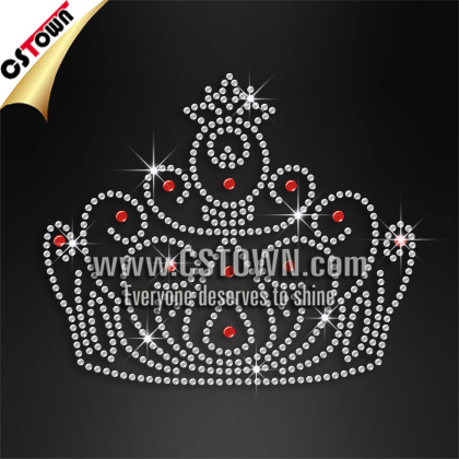 Korea Quality Crystal And Red Crown Queen Party Iron On Transfer Clothing Embellishment