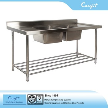 Commercial Equipment Top Ss304 Free Standing Stainless Steel Kitchen Sink Benches