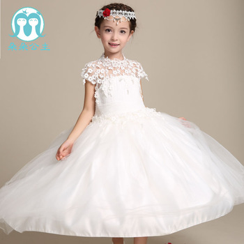 0bf3349f3abc High Quality White Baby Girl Long Flower Wedding Dress Net Frock ...