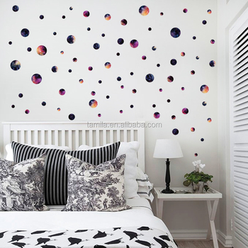 removable colored circles wall sticker children's bedroom pvc self