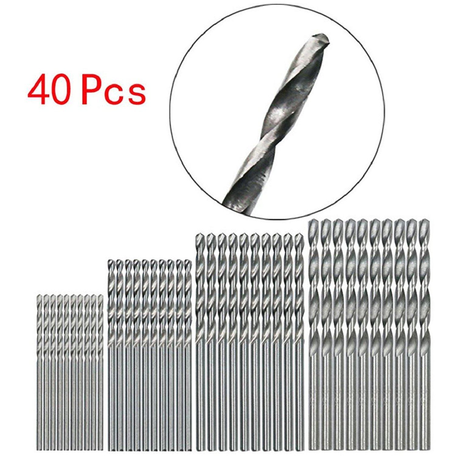 Naladoo New 40 Pcs Mini Drill HSS Bit 0.5mm-2.0mm Straight Shank Pcb Twist Drill Bits Set