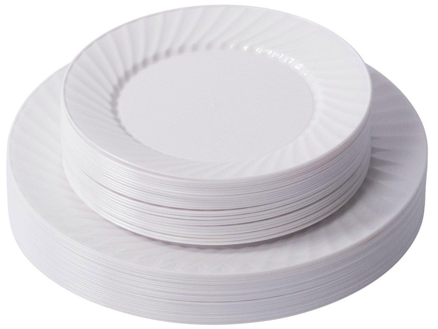 Zy 100 6 Inch Plastic Dessert Plates Premium Quality Heavyweight Disposable Hard