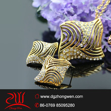 high quality gold plated crystal female model jewely set