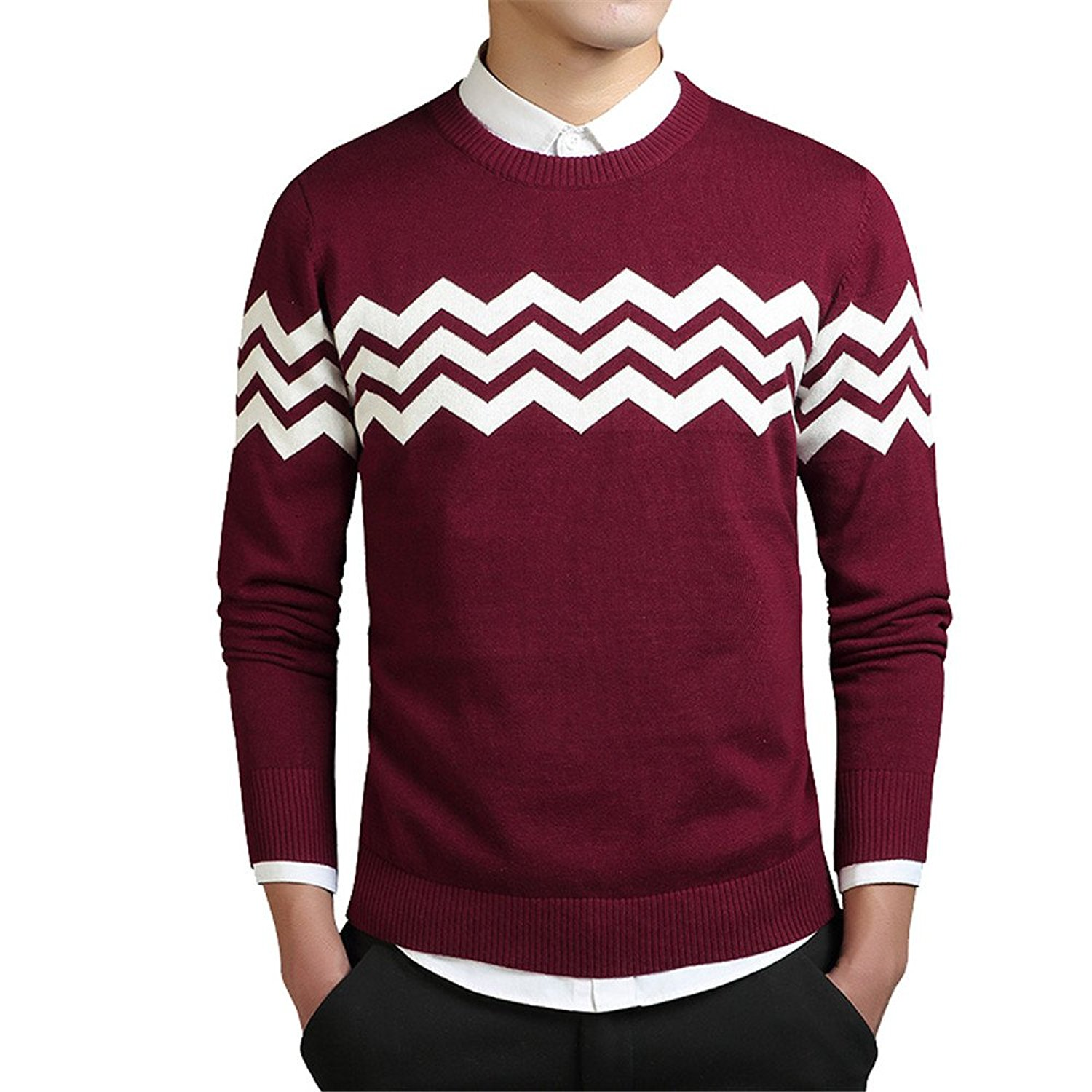 3e836c534d58b Get Quotations · SherongNZHXGao Wave Shape Cashmere Sweaters Men Autumn New  Mens Sweaters Striped Printed Wool Pullovers