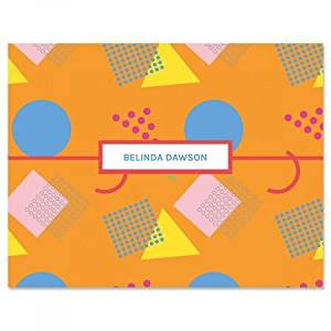 get quotations personalized orange retro 90s kids note cards set of 24 4 1 - Personalized Embossed Note Cards