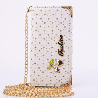 Peach Metal Series Type PU Leather Wallet Case With Hanging Wire Women Wallet For Iphone6G