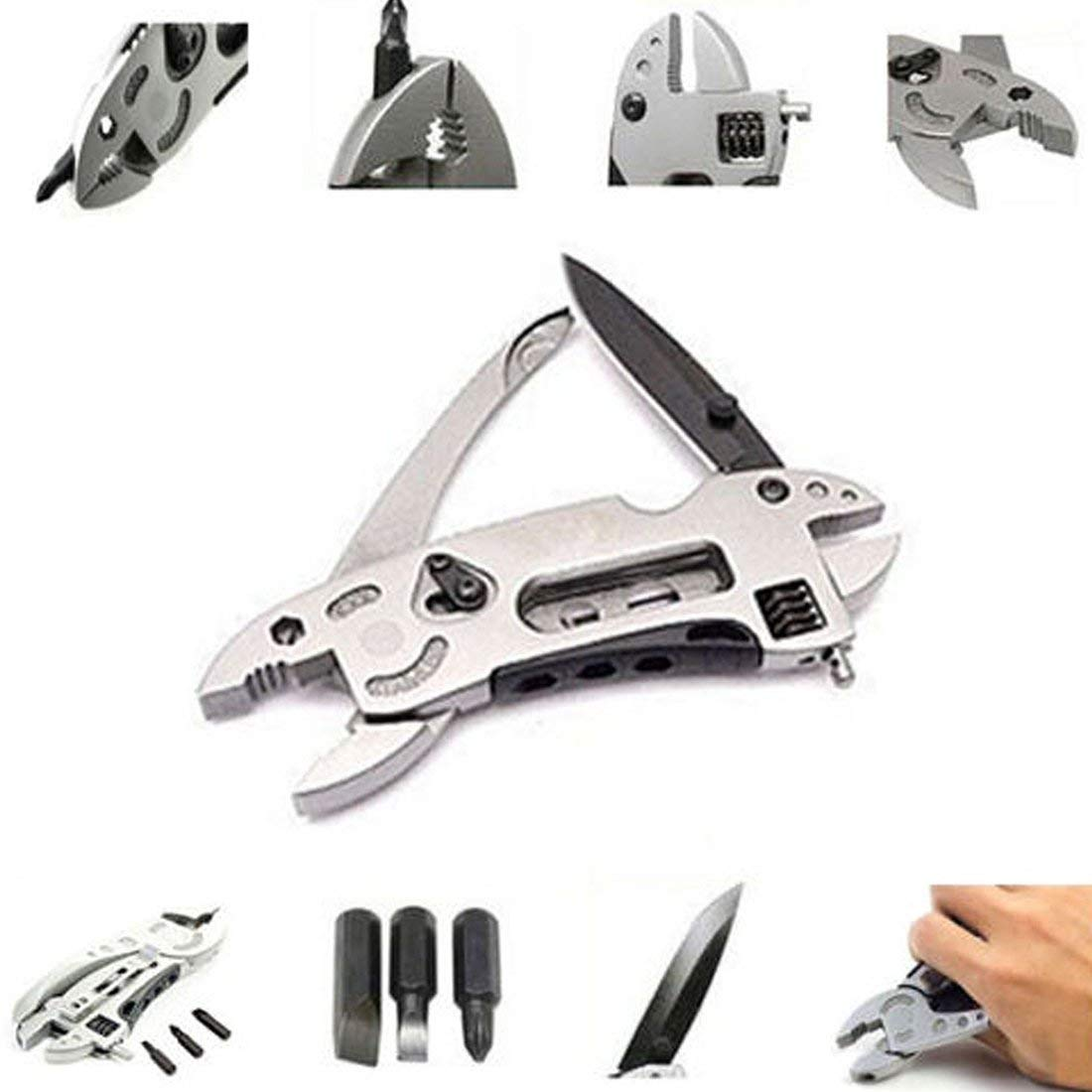 unbrand Pocket Wrench Multi-Function Outdoor Survival Knife with Multi-Tool Pliers & Spa