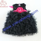 2017 new model children girl wedding dress children party flower girl dresses,girls black tutu and sequin clothes with flower