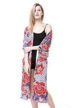 Wholesale 2017 new design long cardigan women you may need print knit outwear kimono cotton patchwork casual long cardigan