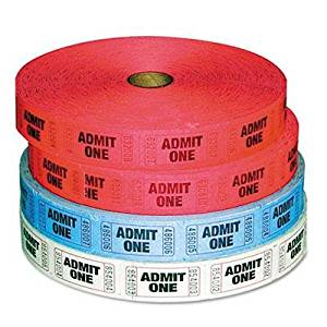 """Pm Company - 2 Pack - Admit-One Ticket Multi-Pack 4 Rolls 2 Red 1 Blue 1 White 2000/Roll """"Product Category: Labels Indexes & Stamps/Tags & Tickets"""""""