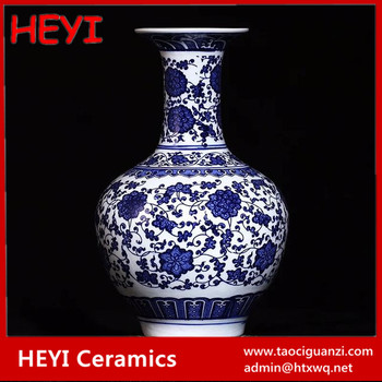 Hand Made Antique Ceramic Glazed Old Blue And White Chinese Vase