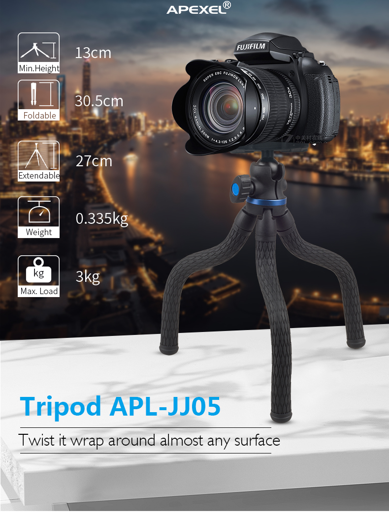 APEXEL Mini Flexible Camera Tripod for Smartphone,Octopus Waterproof Mobile Phone Tripod Professional APL-JJ05