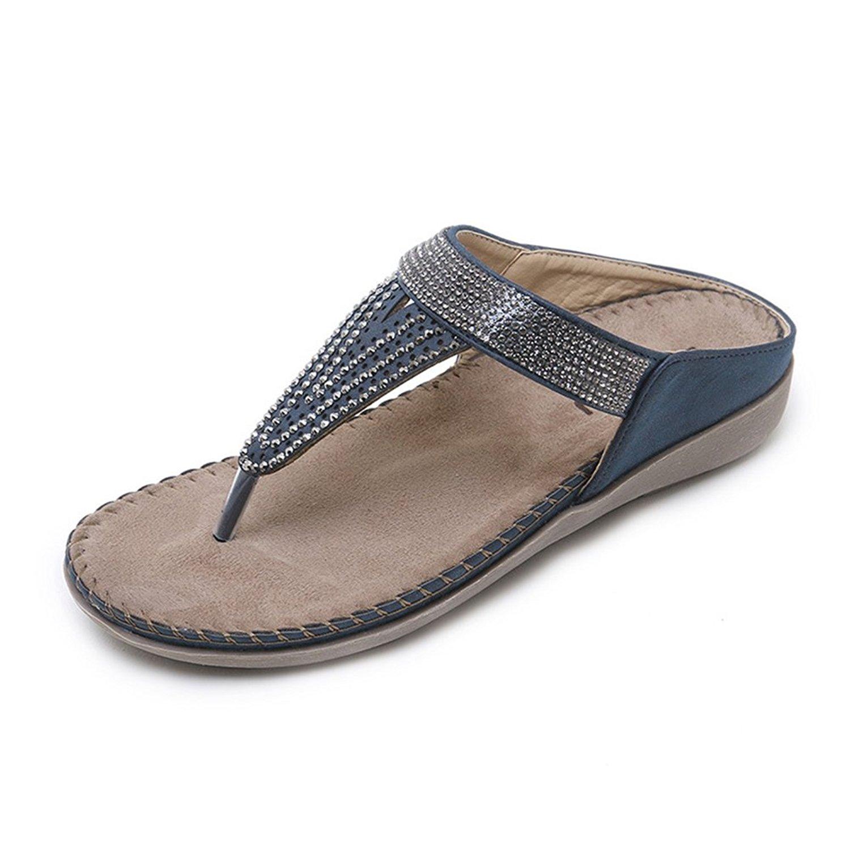 c111c4f0ad3e Get Quotations · Mobnau Women s Leather Flat Thong Sandals Flip Flop  Sandles Blue 36 5.5 D(M)