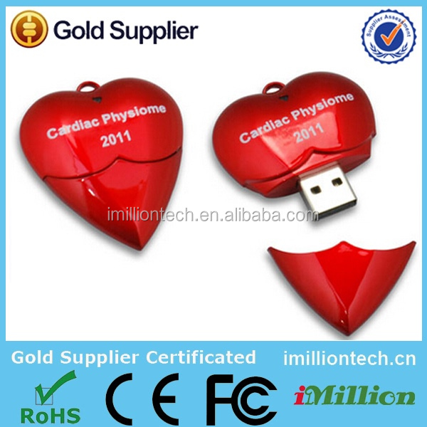 red heart usb flash memory , plastic heart shape pen drive , promoitional cheap heart usb 2gb