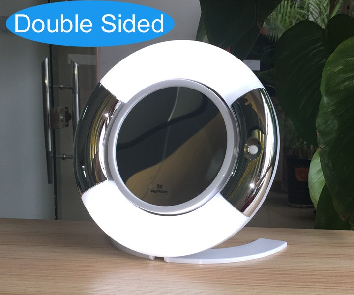 Double sided Folding desktop led makeup mirror batteries operation