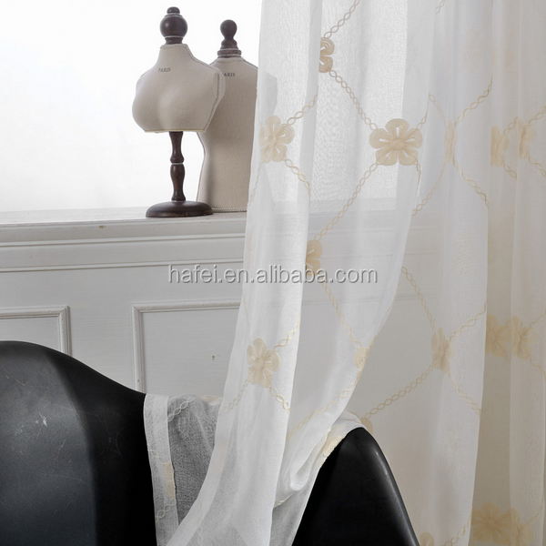 Wholesale White Fancy Ready Made Linen Embroidered Voile Sheer Curtains