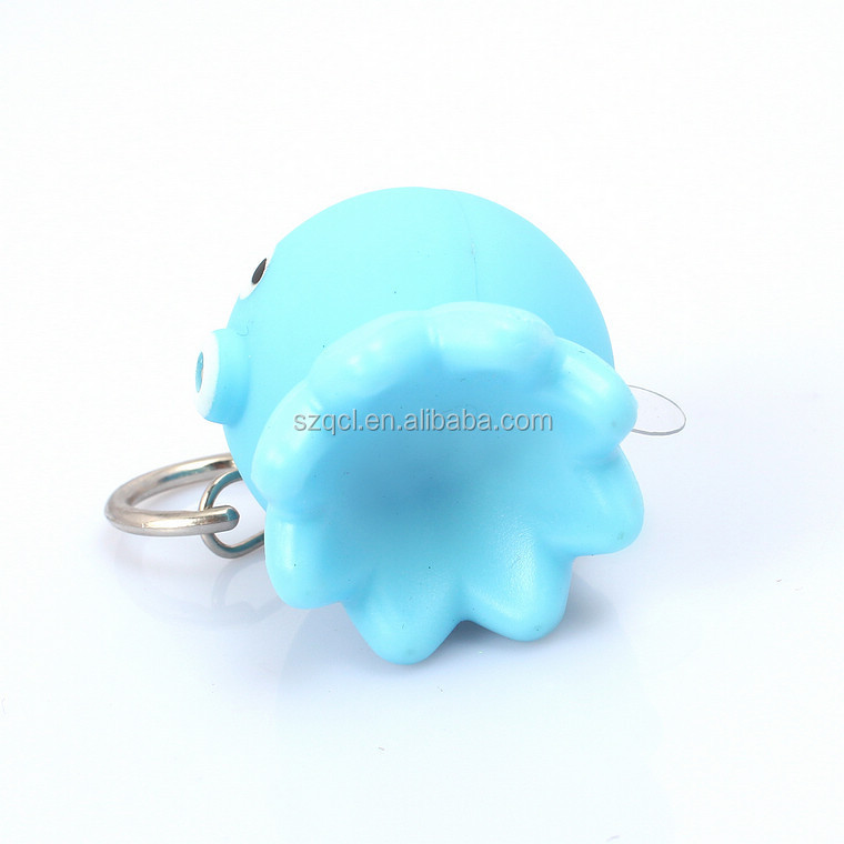 Sea Animals LED Flashing Keychain Octopus Lighting Keyrings Customized Logo Printing Available