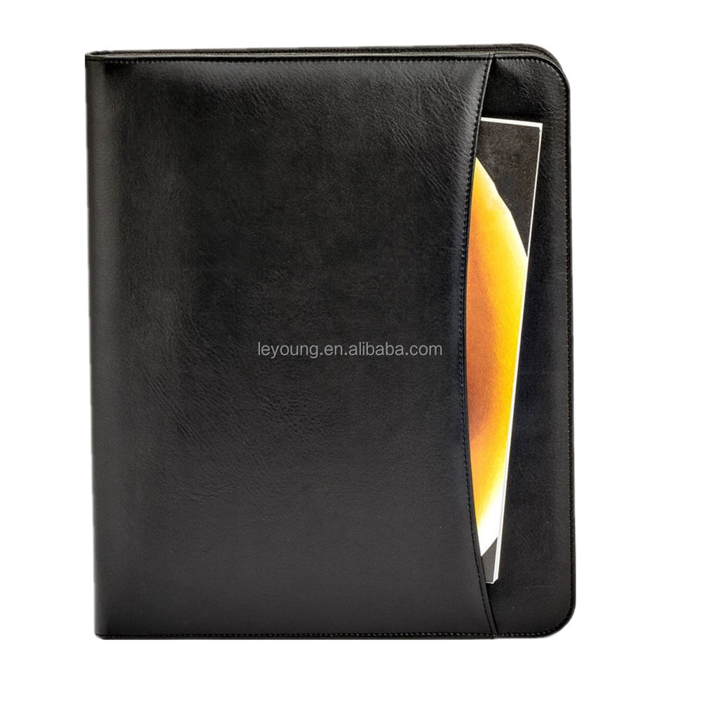 A4 size Black Leather Card Case Document Bag Type File Folder with Zipper