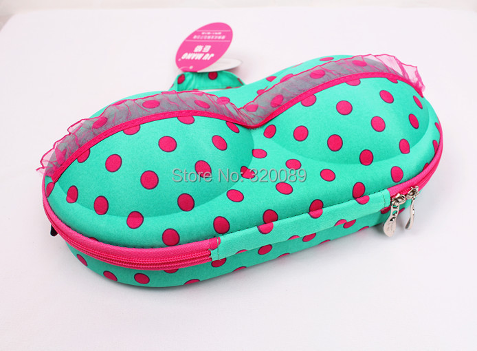 New Green With Fuchsia Dots Bra Bag Travel Bra Case Organizer Underwear Case Gift